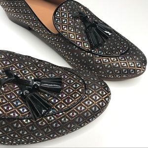 Jacquard Stacked Heel Loafers Size 6.5